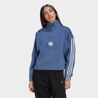 adidas Women's Adicolor 3D Trefoil Fleece Half-Zip Sweatshirt