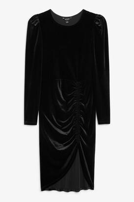 Monki Velvet ruche dress