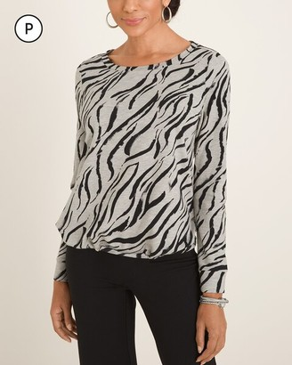 Zenergy Petite Zebra-Print Cinched Pullover