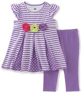 Kids Headquarters Purple Stripe Tunic & Capri - Infant Toddler & Girls
