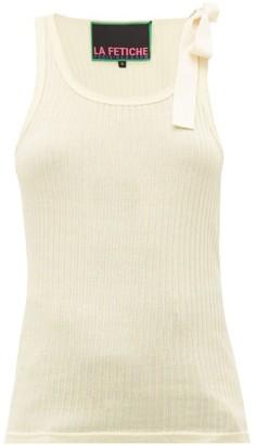 Jean Pierre La Fetiche - Jean-pierre Shoulder-tie Ribbed Cotton Tank Top - Womens - Ivory