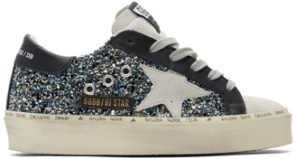 Golden Goose Black and Blue Hi Star Sneakers