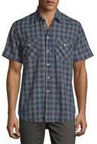 Billy Reid Graham Plaid Short-Sleeve Sport Shirt, Navy