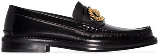Versace black Medusa chain leather loafers