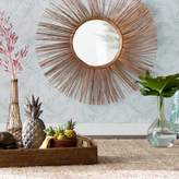 Bay Isle Home Round Brown Natural Rattan Wall Mirror