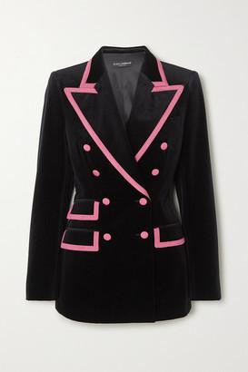 Dolce & Gabbana Two-tone Double-breasted Satin-trimmed Velvet Blazer - Black