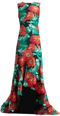 Oscar de la Renta Sleeveless Floral Jacquard High-Low Gown