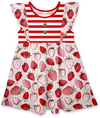 Penelope Plumm Girls' Casual Dresses - Red Stripe Strawberry Button-Accent Angel-Sleeve Dress - Toddler & Girls