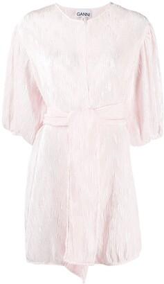 Ganni Plisse-Effect Mini Dress
