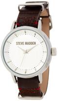 Steve Madden Women&s Double-Loop Genuine Leather Strap Watch