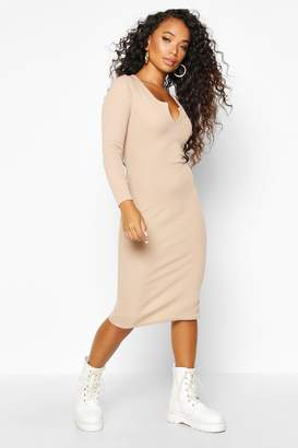 boohoo Petite Notch Neck Long Sleeve Rib Midi Dress