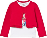 Mayoral White Girl Print Vest and Red Knit Frill Cardigan Set