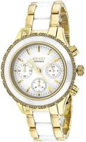DKNY NY8830 Women's Chambers White & Gold Ceramic Watch with Chronograph