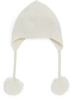 Yves Salomon Enfant Knitted Fur Pompom Hat