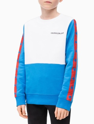 Calvin Klein Boys Colorblock Stripe Logo Sweatshirt