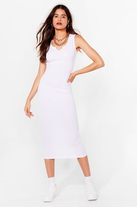 Nasty Gal Womens Notch Today Fitted Midi Dress - White