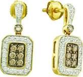 DazzlingRock Collection 0.50 Carat (ctw) 10k Yellow Gold Round & White Diamond Ladies Fashion Drop Earrings