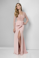 Terani Couture Long Sleeve Wrap Trumpet Skirt Gown 1611M0635