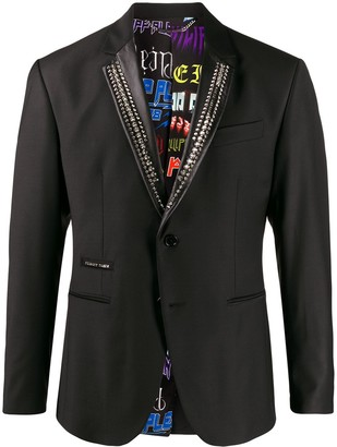 Philipp Plein Stud Embellished Tuxedo Blazer