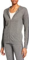Neiman Marcus Cashmere Metallic-Stripe Zip-Front Hoodie
