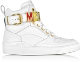 Moschino Optic White Leather High Top Sneakers w/Multicolor Signature Logo