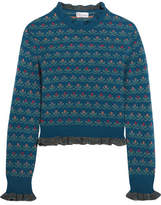 RED Valentino Ruffled Floral-intarsia Wool-blend Sweater - Blue
