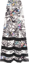 Just Cavalli Printed voile and chiffon maxi skirt