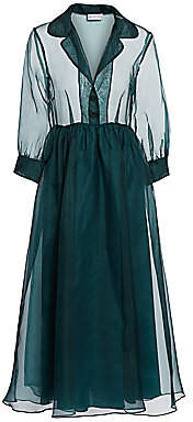 Black Iris Women's The Grace Silk A-Line Midi Dress