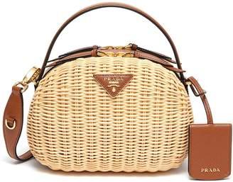 Prada Logo badge straw leather crossbody bag