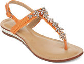 GC SHOES GC Waterlillies T-Strap Jeweled Flat Sandals