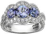 Judith Ripka Sterling 1.60cttw 3-Stone Tanzanit e Ring