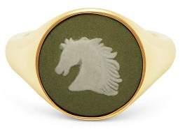 Wedgwood Ferian Ceramic Horse Head & Gold Signet Ring - Womens - Light Green