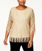 Alfred Dunner Plus Size Textured Fringe Top with Necklace