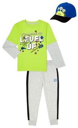365 Kids From Garanimals Boys Level Up Long Sleeve T-Shirt, Sweatpants, & Hat, 3-Piece Outfit Set, Sizes 4-10