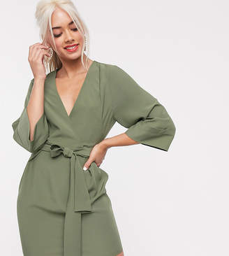 Asos DESIGN Petite kimono sleeve v neck mini pencil dress-Green