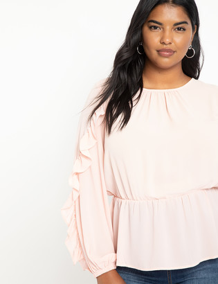 ELOQUII Peplum Top with Ruffles