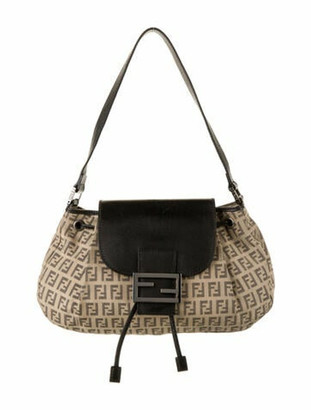Fendi Leather-Trimmed Zucchino Baguette Silver