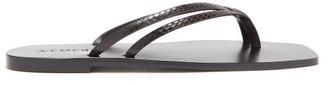 A.emery - Benni Snake-effect Leather Sandals - Dark Brown