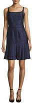 J. Mendel Square-Neck Pleated-Hem Dress, Marine/Vin