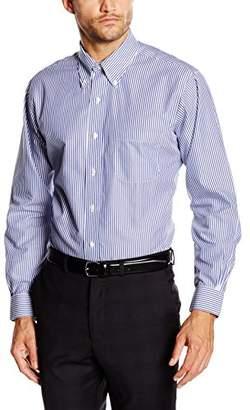 Brooks Brothers Men's Dress Non-Iron Botton Down Regent Bengal Stripe Shirt, Blue 80, (Neck in. 16 Sleeve in. 34)