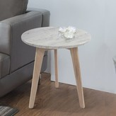 Bronx Harriette 15a Round Italian Carrara White Marble End Table Ivy Table Base Color: Oak