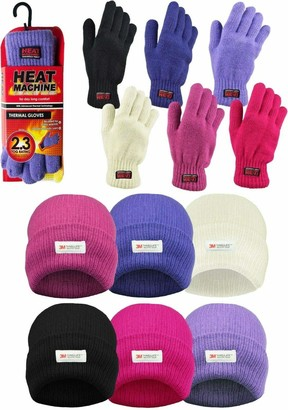 Jmc LADIES KNITTED 3M THINSULATE HAT WITH MATCHING THERMAL GLOVES (Black)