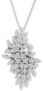 """Wrapped in Love Diamond Cluster 18"""" Pendant Necklace (1 ct. t.w.) in 14k White Gold, Created for Macy's"""