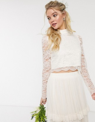 Y.A.S wedding top with highneck in cream lace