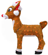 Asstd National Brand 26 Pre-Lit Rudolph The Red-Nosed Reindeer In Santa Hat Yard Art with Clear Lights