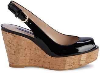 Stuart Weitzman Jean Patent Leather Slingback Wedge Sandals