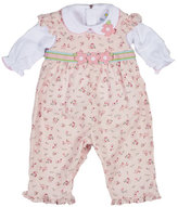 Florence Eiseman Floral Corduroy Overalls w/ Collared Blouse, Pink, Size 6-24 Months