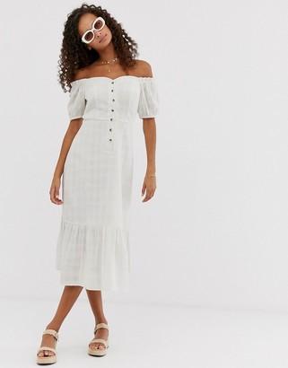 Asos Design DESIGN button through off shoulder midi dress in texture-White