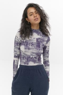 Urban Outfitters Second Skin Toile De Jouy Top - blue XS at