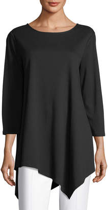 Joan Vass Petite 3/4-Sleeve Asymmetric Tunic